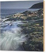 Waves Crashing Against The Shore In Acadia National Park Wood Print