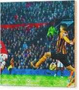 Wayne Rooney Of Manchester United Scores Their Second Goal Wood Print