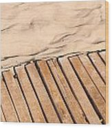 Weathered Wooden Boardwalk On Sand Wood Print