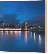 Westminster Blue Hour Wood Print