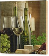 White And Red Wine In A French Style Wood Print