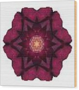 Beach Rose I Flower Mandala White Wood Print