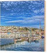 White Jetty Walkway Leading To Boats And Yachts In A Marina With Blue Sky And Reflections Wood Print