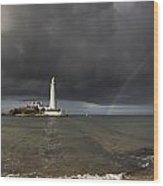 White Lighthouse Illuminated By Wood Print
