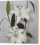 White Lily Spray Wood Print