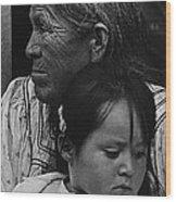 White Mountain Apache Elder And Granddaughter Rodeo White River Arizona 1970 Wood Print