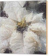 White Poinsettias Christmas Card Wood Print