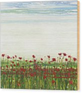 Wild Poppies Corbridge Wood Print by Mike   Bell