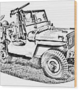 Willys World War Two Army Jeep Illustration Wood Print