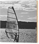 Wind Surfer Bw Wood Print