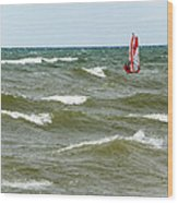 Wind Surfing Wood Print