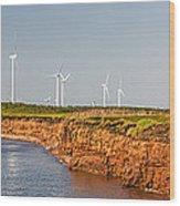 Wind Turbines On Atlantic Coast Wood Print by Elena Elisseeva