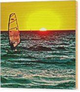 Windsurfer At Sunset On Lake Michigan From Empire-michigan  Wood Print
