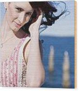 Windy Hair Woman Wood Print
