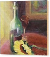 Wine And Sunflower Wood Print