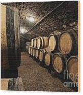 Wine Barrels In A Cellar. Cote D'or. Burgundy. France. Europe Wood Print by Bernard Jaubert