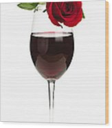 Wine With Red Rose Wood Print