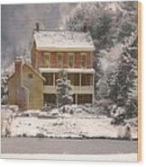 Winter Farm House Wood Print