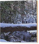 Winter Forest Stream Wood Print