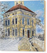 Winter Landscape With A Bridge Over The River And Interesting Home Wood Print by Gynt
