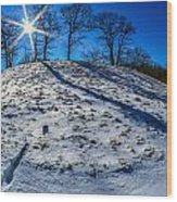 Winter Scinery In The Mountains With Bllue Sky And Sunshine Wood Print