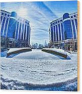 Winter Street Scenes Around Piedmont Town Centre Charlotte Nc Wood Print