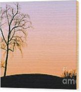 Winter Sunset Tree Wood Print