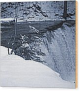 Winter Waterfall Snow Wood Print