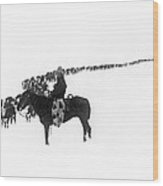 Wintertime Cattle Drive Wood Print
