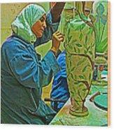 Woman Artisan At Mosaic School In Madaba In Jordan  Wood Print