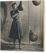 Woman Boxing Workout Wood Print