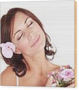 Woman Enjoying Dayspa Wood Print