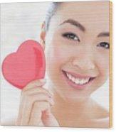 Woman Holding Heart Wood Print