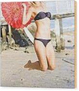 Woman In Bikini Jumping Wood Print