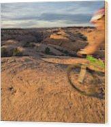 Woman Mountain Biking, Moab, Utah Wood Print