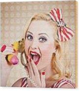 Woman On Banana Telephone. Health Eating News Wood Print