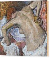 Woman Sponging Her Back Wood Print