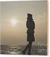 Woman Walking On The Lake Front Wood Print