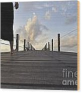 Woman Walking On Wooden Jetty At Sunrise Wood Print by Sami Sarkis