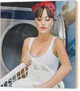 Woman Washing Clothes Wood Print