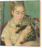 Woman With A Cat Wood Print