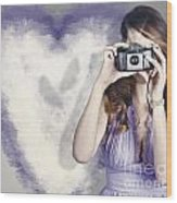 Woman With Camera. Love In A Still Frame Capture Wood Print