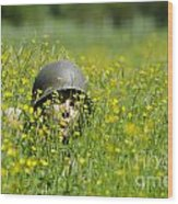 Woman With Military Helmet Wood Print