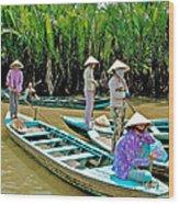 Women Waiting For Passengers On Mekong River Canal-vietnam Wood Print