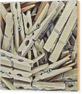 Wooden Clothes Pegs Wood Print
