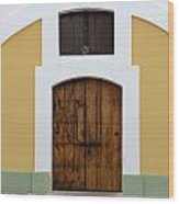 Wooden Door At El Morro Historical Site Wood Print