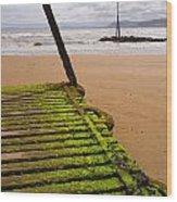 Wooden Slipway Rhos On Sea Wood Print