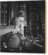 Working With The Hand Drill 1942 Wood Print