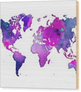 World Map Watercolor Wood Print