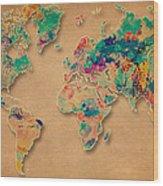 World Map Watercolor Painting  Wood Print